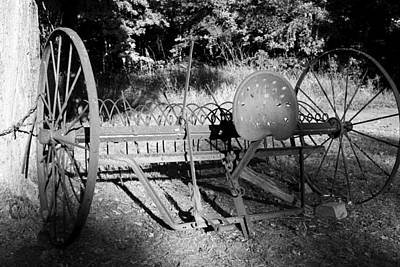 Farm Equipment Bw Art Print by Mary Bedy