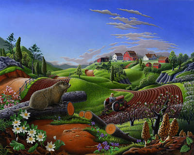 Folkart Painting - Farm Folk Art - Groundhog Spring Appalachia Landscape - Rural Country Americana - Woodchuck by Walt Curlee