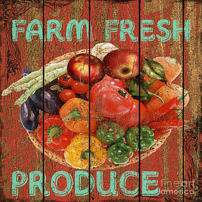 Vegetables Mixed Media - Farm Fresh Produce by Jean PLout