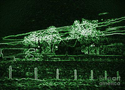Barnyard Digital Art - Farm Glowing Green by Minding My  Visions by Adri and Ray
