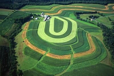 Farm Greens And Hillside Contour Plowing Art Print by Blair Seitz