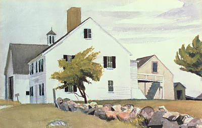 At Poster Painting - Farm House At Essex Massachusetts by Edward Hopper