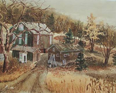 Painting - Farm In Fall by Tony Caviston