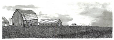 Horse Shed Drawing - Farm In Rural Cape Breton by Jonathan Baldock
