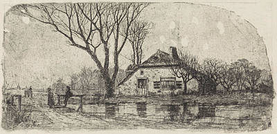 Stark Drawing - Farm In Tricht, The Netherlands, Print Maker Elias Stark by Elias Stark