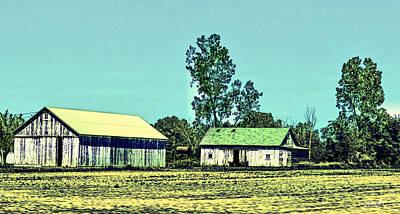 Bucolic Scenes Digital Art - Farm Journal - Sheds by Paulette B Wright