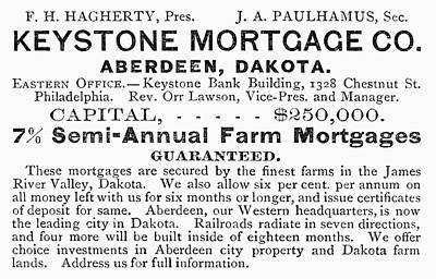 Dakota Painting - Farm Mortgages Ad, 1889 by Granger