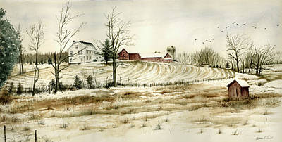 Winter Landscapes Painting - Farm On Belcher Road by Tom Hedderich