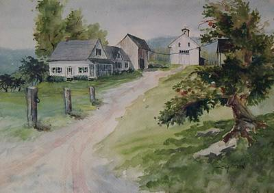 Art Print featuring the painting Farm On Orchard Hill by Joy Nichols