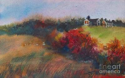 Art Print featuring the painting Farm On The Hill At Sunset by Joy Nichols
