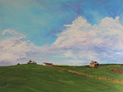 Landscape Painting - Farm Rolling Hills And Sky by Kevin Doty