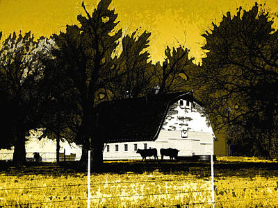Photograph - Farm Scene In Yellow by Ann Powell