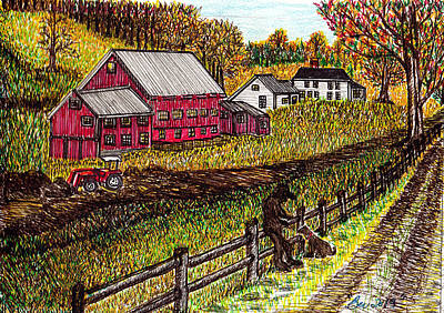 Maine Farms Drawing - Farm Scene With Boy And Dog by Beverly Farrington