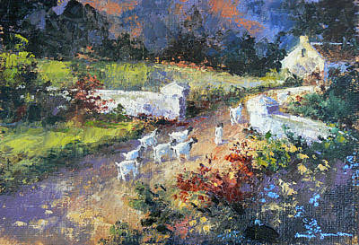 Farm Scene With Goats I Art Print