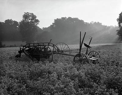 Farm Scene With Old Hay Baler In Middle Art Print