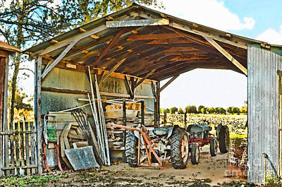 Photograph - Farm Shed Digital Watercolor by Debbie Portwood