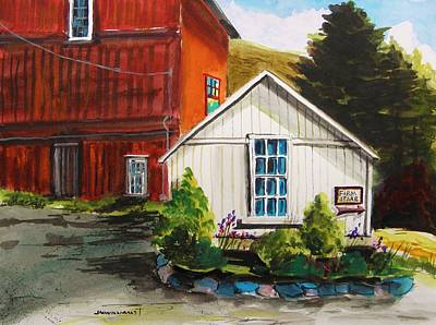 Shed Drawing - Farm Store by John Williams