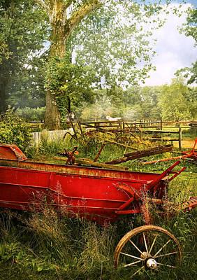 Farm - Tool - A Rusty Old Wagon Art Print by Mike Savad