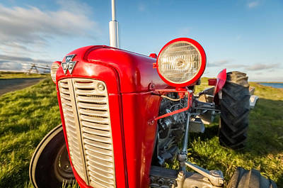 Red Tractors Photograph - Farm Tractor, Flatey Island by Panoramic Images