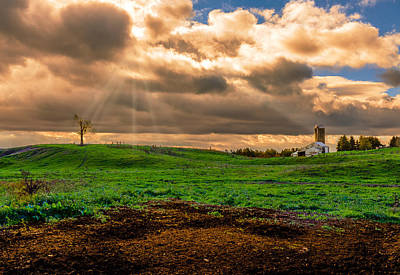 Farm Under Retreating Storm Art Print by Chris Bordeleau