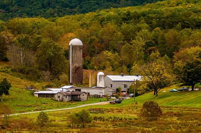 Farm View With Mountains Landscape Art Print by Alex Grichenko