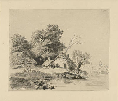 Solitary Drawing - Farm Waterfront, Remigius Adrianus Haanen by Remigius Adrianus Haanen