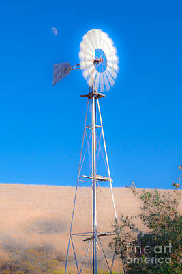 Photograph - Farm Windmill And The Moon Blue Sky Fine Art Photography Print by Jerry Cowart