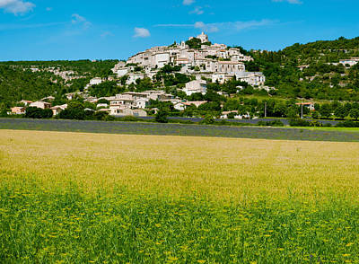 Provence Photograph - Farm With A Town In The Background by Panoramic Images