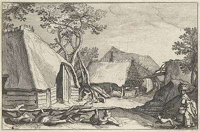 Farm With Land And Derelict Barn Print by Claes Jansz. Visscher (ii) And Abraham Bloemaert And Bo?tius Adamsz. Bolswert