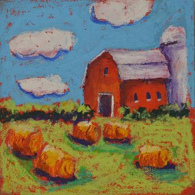 Pastel - Farm With Puffy Clouds by Pat Olson