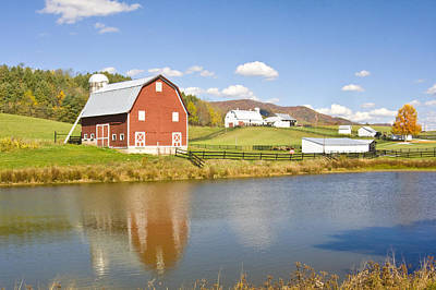 Photograph - Farm With Red Barn by Robert Camp