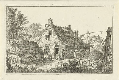 Farmyard Drawing - Farm With Standing Man And Woman Sitting by Hermanus Fock