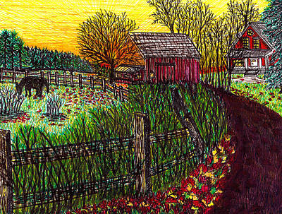 Maine Farms Drawing - Farm With Yellow Suset by Beverly Farrington