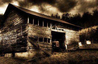 Barn Photograph - Farmall Barn Sepia by Greg and Chrystal Mimbs