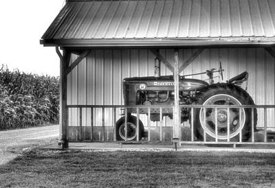 Photograph - Farmall Tractor Black And White by Dan Sproul
