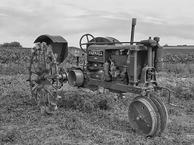 Photograph - Farmall Tractor Black And White by Ken Smith