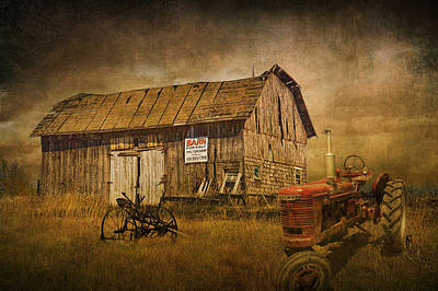Farm Scenes Photograph - Farmall Tractor By A Barn For Sale by Randall Nyhof