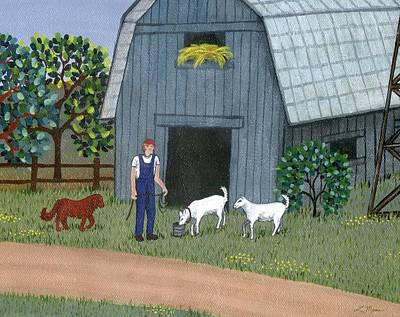 Whimsical Painting - Farmer And Goats by Linda Mears