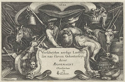 Farmer And Rancher Between Agricultural Tools Art Print by Claes Jansz. Visscher (ii) And Bo?tius Adamsz. Bolswert