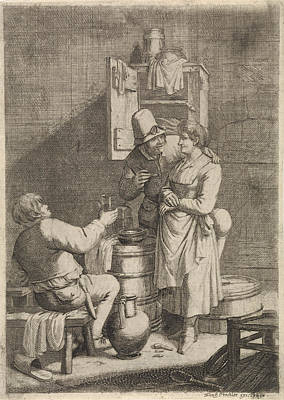 Glass Wall Drawing - Farmer Couple And A Man With A Glass, Print Maker Justus by Justus Van Den Nijpoort And Franz Prechler