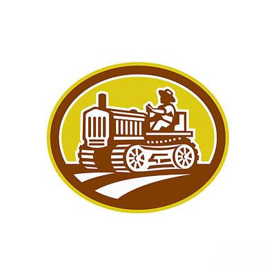 Farmer Drive Vintage Tractor Oval Retro Art Print by Aloysius Patrimonio