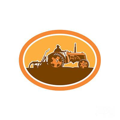 Farmer Driving Vintage Farm Tractor Oval Retro Art Print by Aloysius Patrimonio