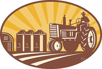 Farmer Driving Vintage Tractor Retro Woodcut Art Print by Aloysius Patrimonio