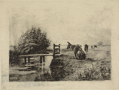 Stark Drawing - Farmer Milking A Cow In A Pasture, Elias Stark by Elias Stark