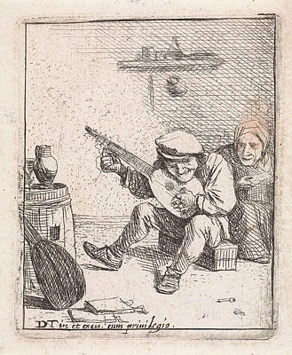 Lute Drawing - Farmer Plays The Lute, Anonymous, David Teniers II by David Teniers (ii)