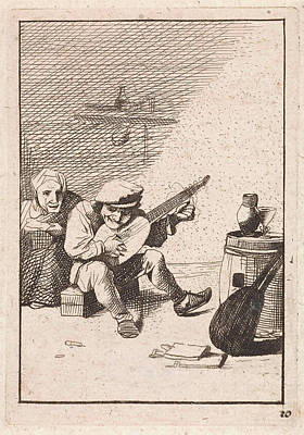 Lute Drawing - Farmer Plays The Lute, David Teniers II, Anonymous by David Teniers Ii And Anonymous