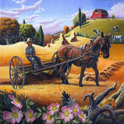 Folksy Painting - Farmer Raking The Hay Country Farm Life Landscape - Square Format by Walt Curlee