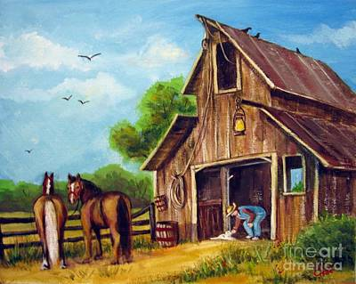 Art Print featuring the painting Farmer Scene by Carol Hart