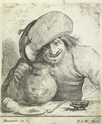 1636 Drawing - Farmer With A Jug In The Hand, Frans Van Den Wijngaerde by Frans Van Den Wijngaerde