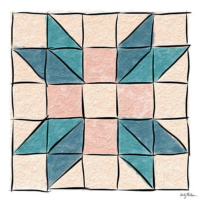 Block Quilts Painting - Farmer's Daughter - Teal And Rose by Sandy MacGowan